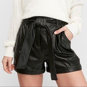 Express High Rise Vegan Leather Shorts
